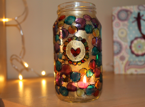 Glass Painted Pickle Jar