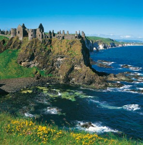 The ruins of Dunluce Castle on the Antrim Coast