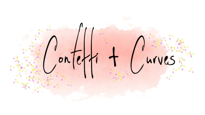 Confetti & Curves Logo On Background White