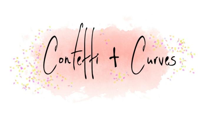 Confetti & Curves Logo On Background White